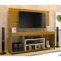 Rack Free Com Painel Wood Para TV Até 55 Polegadas Mavaular Mel/Off White