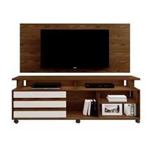 Rack Supremo Com Painel Wood Para TV Até 55 Polegadas Mavaular Canion Soft/Off White
