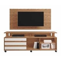 Rack Supremo Com Painel Wood Para TV Até 55 Polegadas Mavaular Damasco Soft/Off White