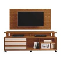 Rack Supremo Com Painel Wood Para TV Até 55 Polegadas Mavaular Mel/Off White