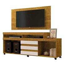 Rack Triunfo Com Painel Wood Para TV Até 55 Polegadas Mavaular Mel/Off White